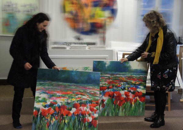 Mary Chaplin with Deborah Allan in Wychwood Art Gallery Deddignton England