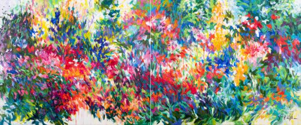 Françoise's garden, acrylic on canvas diptych 2x120x100cm